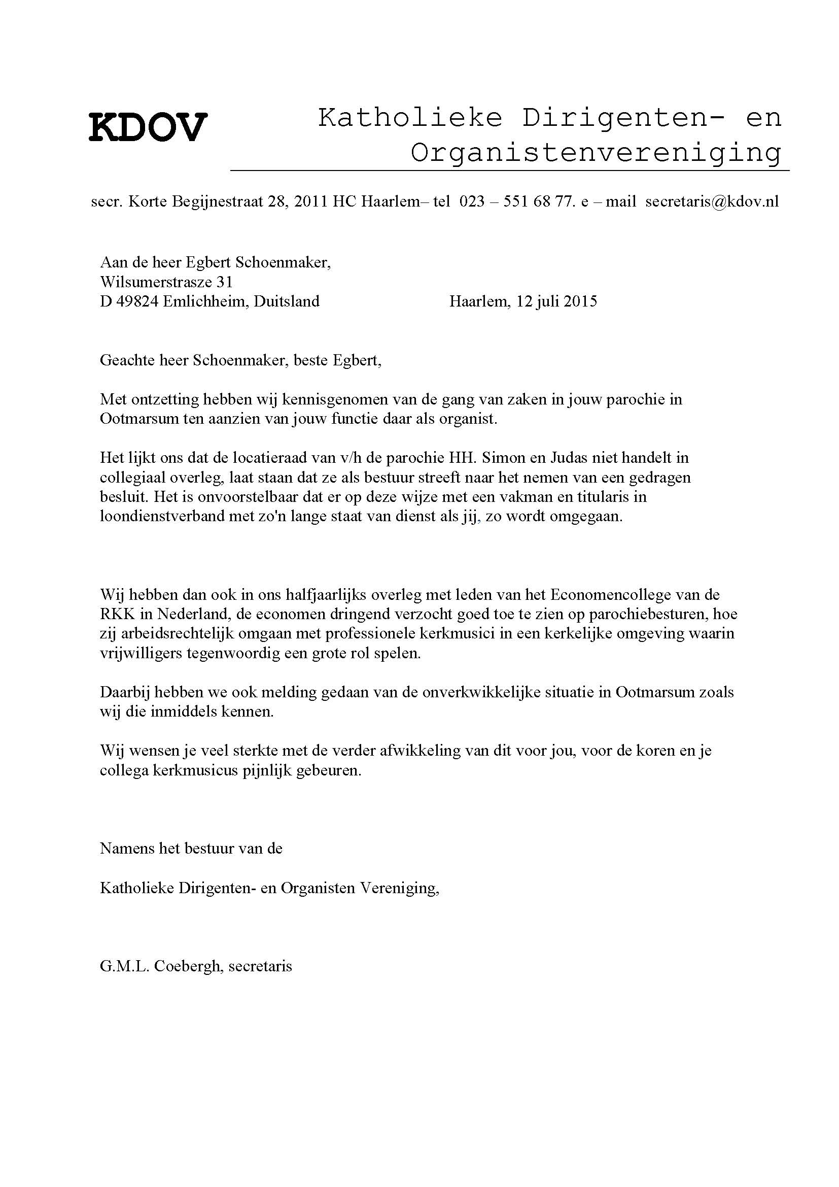 opstelling ontslagbrief Egbert Schoenmaker opstelling ontslagbrief
